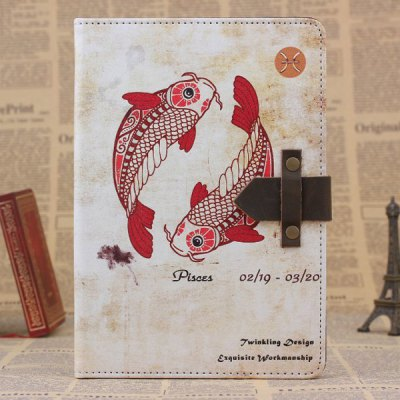 ФОТО PU and PC Material Retro Pisces Pattern Protective Cover Case with Stand for iPad mini 2