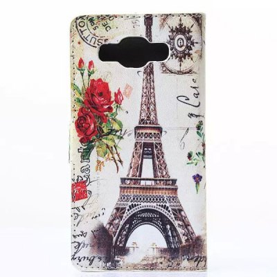 ФОТО Stand Design Eiffel Tower Pattern Phone Cover Case of PU and PC Material for Samung Galaxy A3 A3000