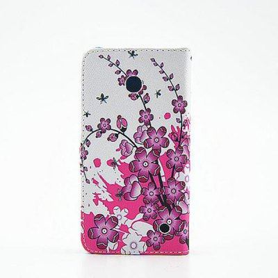 ФОТО Stand Design Purple Flowers Pattern PU Leather Phone Cover Case for Nokia Lumia 630