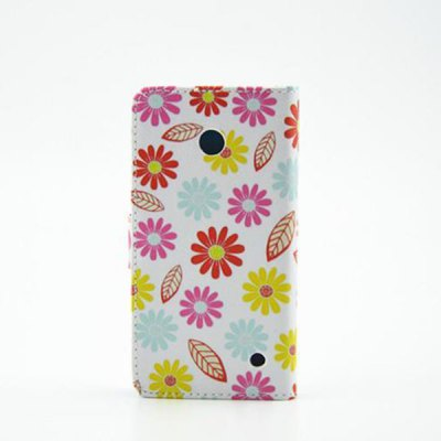 ФОТО Stand Design Colourful Flowers Pattern PU Leather Phone Cover Case for Nokia Lumia 630
