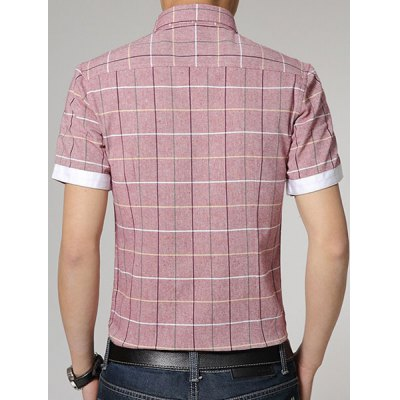 ФОТО Fashion Shirt Collar Slimming Color Block Checked Button Design Short Sleeve Cotton Blend Shirt For Men