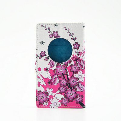 ФОТО Stand Design Purple Flowers Pattern PU Leather Phone Cover Case for Nokia Lumia 1020