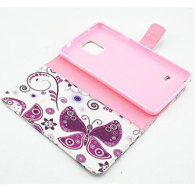 Фотография Stand Design Purple Butterfly Pattern PU and PC Material Phone Cover Case for Samsung Galaxy Note 4 N9100