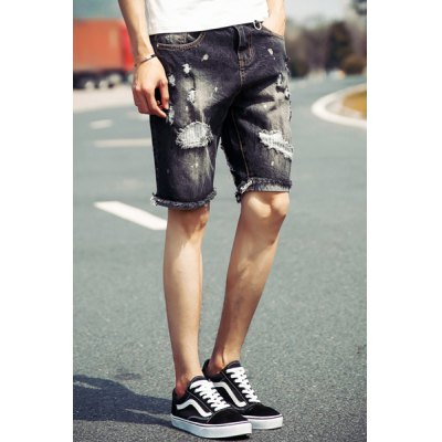Гаджет   Trendy Slimming Destroy Wash Personality Cuffs Zipper Fly Denim Straight Leg Men