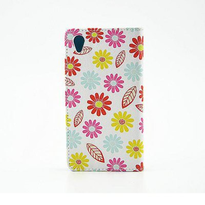 ФОТО Stand Design Colourful Flowers Pattern PU and PC Material Phone Cover Case for Sony Xperia Z1