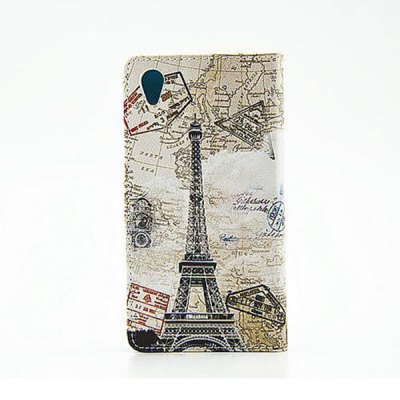 ФОТО Stand Design Eiffel Tower Pattern PU and PC Material Phone Cover Case for Sony Xperia Z1