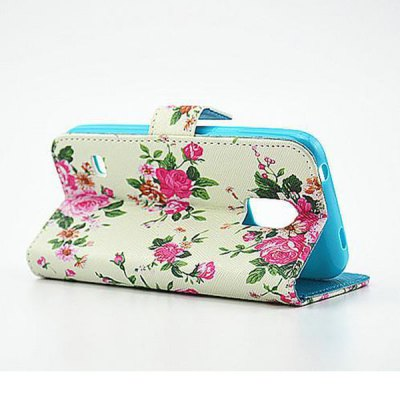 Фотография Stand Design Floral Pattern PU and PC Material Phone Cover Case for Samsung Galaxy S5 mini