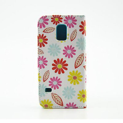 Гаджет   Stand Design Colourful Flowers Pattern PU and PC Material Phone Cover Case for Samsung Galaxy S5 mini Samsung Cases/Covers