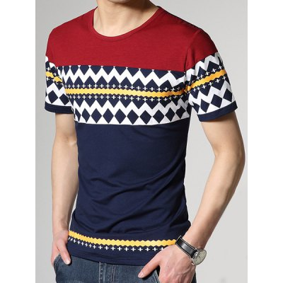 ФОТО Fashion Round Neck Slimming Color Block Ethnic Geometric Print Short Sleeve Cotton Blend T-Shirt For Men