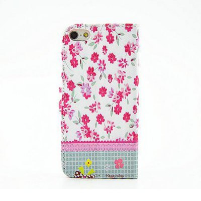 ФОТО Cute Floral Pattern Inlaid Diamond Phone Cover PU Case Skin with Stand Function for iPhone 5S / 5