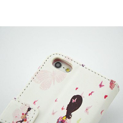 Фотография Painted Shopping Girl Pattern Phone Cover PU Case Skin with Stand Function for iPhone 5S / 5