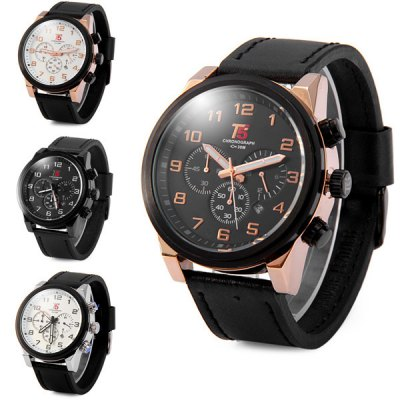T5 3381 Genuine Leather Strap Male Chronograph Quartz WatchMens Watches<br>T5 3381 Genuine Leather Strap Male Chronograph Quartz Watch<br><br>Brand: T5<br>Watches categories: Male table<br>Watch style: Business<br>Available color: Silver, Black, White, Gold<br>Movement type: Quartz watch<br>Shape of the dial: Round<br>Display type: Analog<br>Case material: Stainless steel<br>Band material: Genuine leather<br>Clasp type: Pin buckle<br>Special features: Moving small three stitches, Date<br>Water Resistance: 30 meters<br>The dial thickness: 1.3 cm / 0.51 inches<br>The dial diameter: 4.8 cm / 1.89 inches<br>The band width: 2.4 cm / 0.94 inches<br>Product weight: 0.099 kg<br>Package weight: 0.149 kg<br>Product size (L x W x H): 26.2 x 4.8 x 1.3 cm / 10.30 x 1.89 x 0.51 inches<br>Package size (L x W x H): 27.2 x 5.8 x 2.3 cm / 10.69 x 2.28 x 0.90 inches<br>Package Contents: 1 x T5 3381 Watch