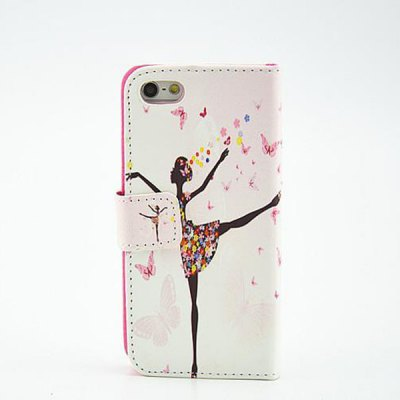 Гаджет   Painted Dream Ballet Girl Pattern Phone Cover PU Case Skin with Stand Function for iPhone 5S / 5 iPhone Cases/Covers