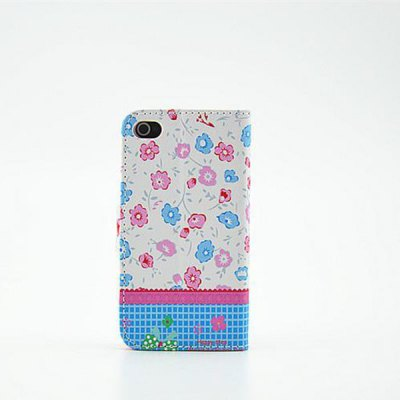 ФОТО Cute Floral Pattern Inlaid Diamond Phone Cover PU Case Skin with Stand Function for iPhone 4S / 4