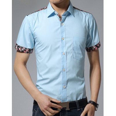 Гаджет   Fashion Shirt Collar Slimming One Pocket Floral Splicing Short Sleeve Cotton Blend Shirt For Men Shirts