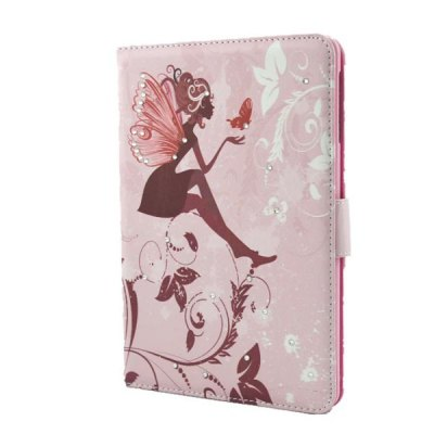 Butterfly Wings Girl Pattern Inlaid Diamond Design Pad Cover PU Case Skin with Stand Function for iPad Mini 3
