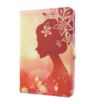 ФОТО Dawn Flower Girl Pattern Inlaid Diamond Design Pad Cover PU Case Skin with Stand Function for iPad Mini