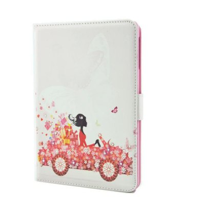 Flower Girl Driving Pattern Inlaid Diamond Design Pad Cover PU Case Skin with Stand Function for iPad Mini 3
