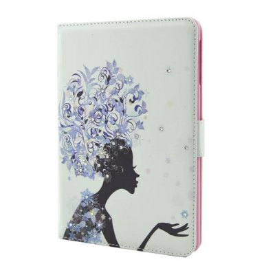 ФОТО Flower Girl Pattern Inlaid Diamond Design Pad Cover PU Case Skin with Stand Function for iPad Mini 3