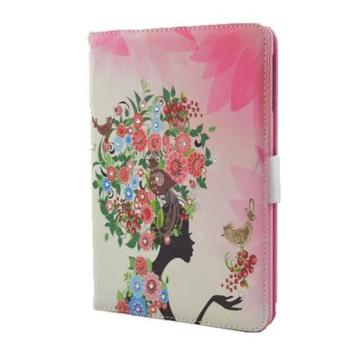 ФОТО Flower Girl Pattern Inlaid Diamond Design Pad Cover PU Case Skin with Stand Function for iPad Mini