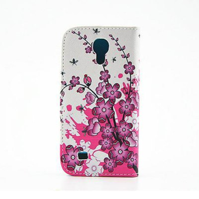 ФОТО Stand DesignFlowers Pattern PU and PC Material Phone Cover Case for Samsung Galaxy S4 mini