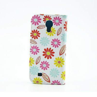 ФОТО Stand Design Colourful Flowers Pattern PU and PC Material Phone Cover Case for Samsung Galaxy S4 mini