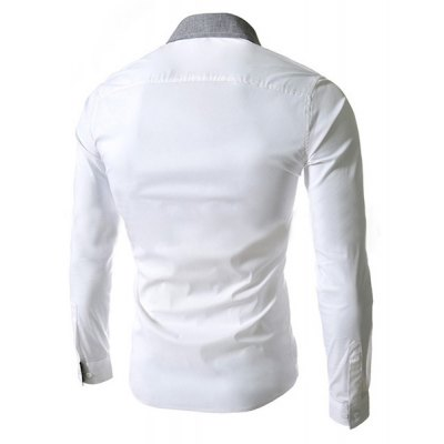 ФОТО Stylish Slimming Color Block Turn-down Collar Personality Button Fly Long Sleeves Men