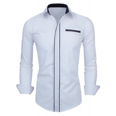 ФОТО Slimming Color Block Button Fly Fake Pocket Turn-down Collar Long Sleeves Men