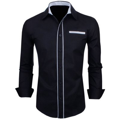 Color Block Button Fly Long Sleeves Black Shirt For Men