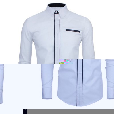 Color Block Button Fly Long Sleeves White Shirt For Men