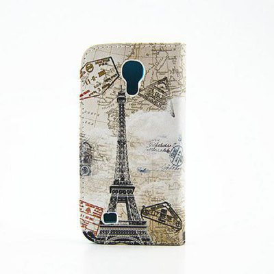 Stand Design Eiffel Tower Pattern PU and PC Material Phone Cover Case for Samsung Galaxy S4 mini