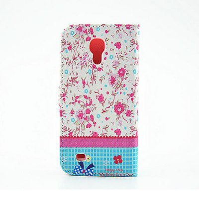Stand Design Floral Pattern Diamante PU and PC Cover Case for Samsung Galaxy S4 mini
