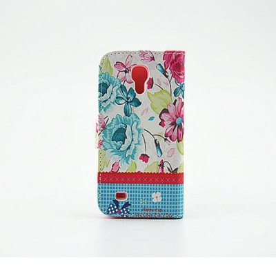 Гаджет   Stand Design Floral Pattern Diamante PU and PC Cover Case for Samsung Galaxy S4 mini Samsung Cases/Covers
