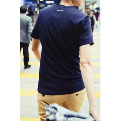 Гаджет   Sports Style Slimming Round Neck Letters and Number Print Short Sleeves Men