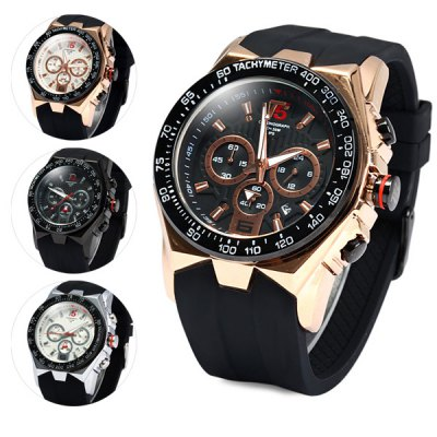 Гаджет   T5 3387 Chronograph Quartz Watch Soft Rubber Band Wristwatch for Men Men