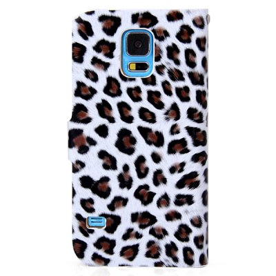 ФОТО 100PCS Leopard Style Plastic and PU Leather Case with Card Holder for Samsung Galaxy S5 i9600 SM - G900