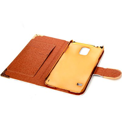 ФОТО 20PCS Leopard Style Plastic and PU Leather Case with Card Holder for Samsung Galaxy S5 i9600 SM - G900