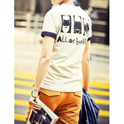Гаджет   Casual Round Neck Slimming Letters and Cartoon Figure Print Short Sleeves Men