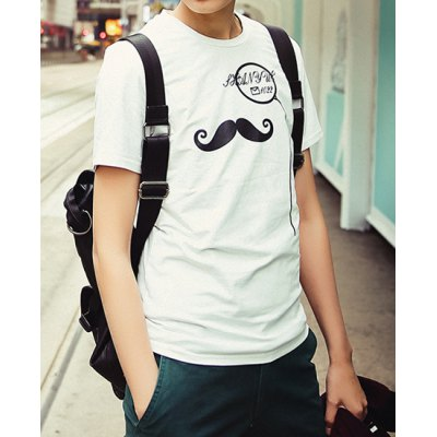 Гаджет   Concise Slimming Round Neck Solid Color Moustache Print Short Sleeves Men