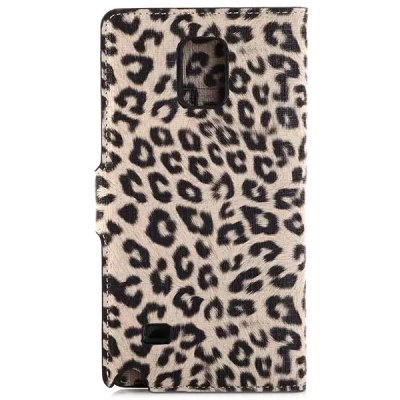 ФОТО 20PCS Fashionable Leopard Print Pattern Design PC and PU Leather Material Support Cover Case with Credit Card Holder for Samsung Gaxaly Note 4 N9100