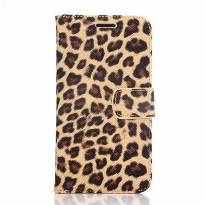 ФОТО 100PCS PU and PC Material Leopard Print Pattern Protective Cover Case for Samsung Galaxy S6 G9200