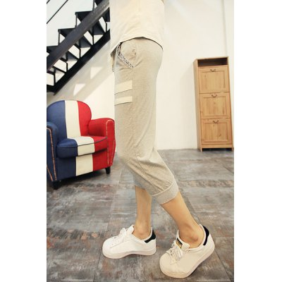 Гаджет   Sports Style Slimming Lace-Up Stripes and Pocket Embellished Beam Feet Men