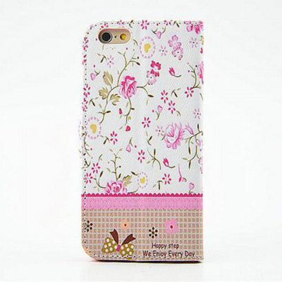 ФОТО Pink Floral Pattern Inlaid Diamond Phone Cover PU Case Skin with Stand Function for iPhone 6 Plus