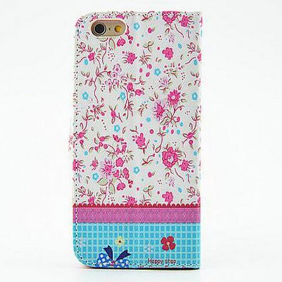 ФОТО Bright Floral Pattern Inlaid Diamond Phone Cover PU Case Skin with Stand Function for iPhone 6 Plus