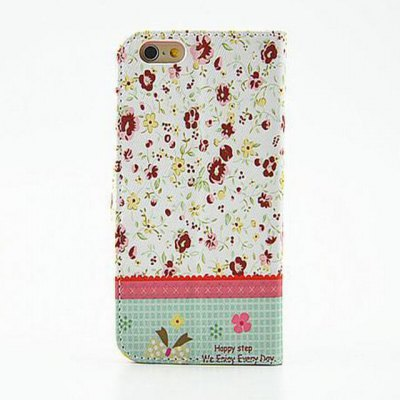 ФОТО Green Floral Pattern Inlaid Diamond Phone Cover PU Case Skin with Stand Function for iPhone 6 Plus