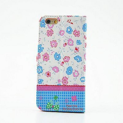 ФОТО Blue Floral Pattern Inlaid Diamond Phone Cover PU Case Skin with Stand Function for iPhone 6 Plus