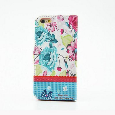 ФОТО Blue Flower Pattern Inlaid Diamond Phone Cover PU Case Skin with Stand Function for iPhone 6 Plus