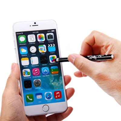 Фотография Portable Clip Design Embossing Touch Screen Stylus Pen for iPhone 6 / 6 Plus iPad Samsung S6 HTC ONE M9 etc.
