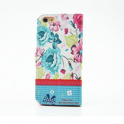 ФОТО Blue Flower Pattern Inlaid Diamond Phone Cover PU Case Skin with Stand Function for iPhone 6