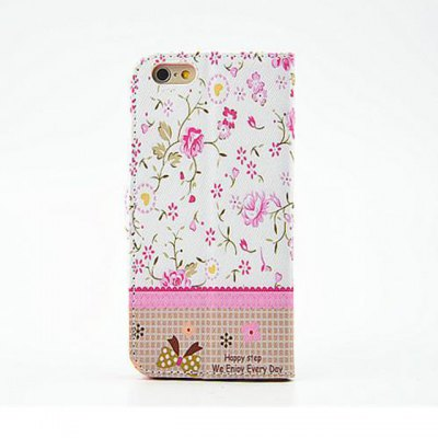 Фотография Pink Floral Pattern Inlaid Diamond Phone Cover PU Case Skin with Stand Function for iPhone 6